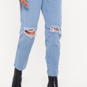 Nasty Gal Pants & Jumpsuits - High Waisted Distressed Mom Jeans